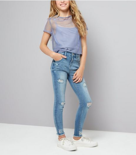 Teens Blue Pearl and Gem Detail Hem Skinny Jeans | New Look