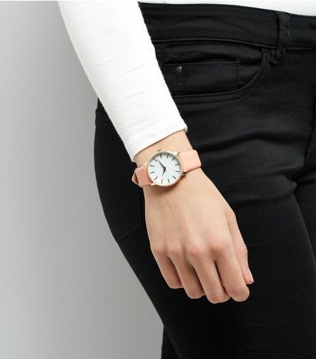 Coral Pink Strap Watch | New Look