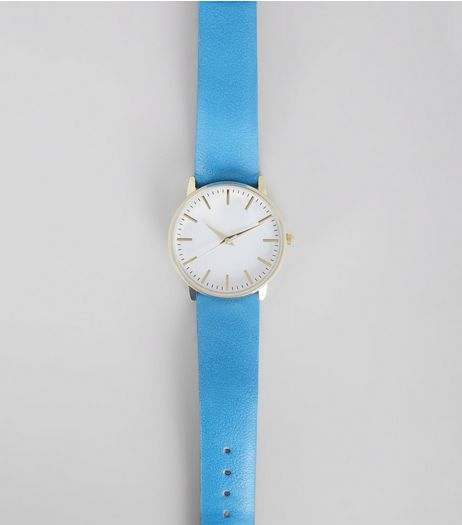 Bright Blue Metallic Face Watch | New Look
