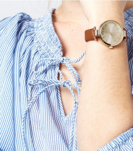 Tan T-Bar Strap Watch | New Look