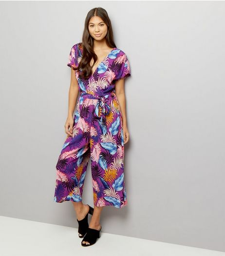 Purple Floral Print Wrap Front Culotte Jumpsuit  | New Look