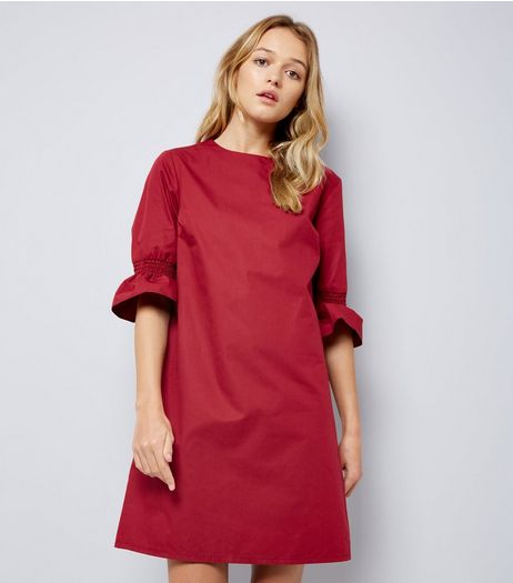 Burgundy Bell Sleeve Tunic Dress  | New Look