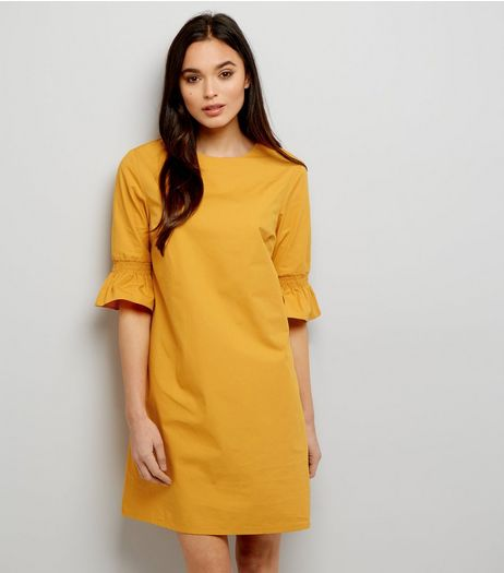 Yellow Shirred Bell Sleeve Tunic Dress | New Look
