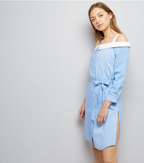 Blue Stripe Bardot Neck Shirt Dress | New Look