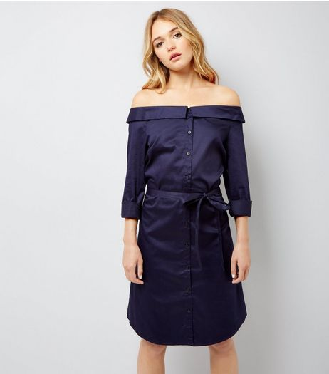 Navy Bardot Neck Shirt Dress | New Look