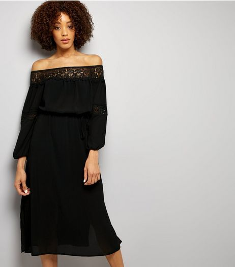 Black Crochet Lace Trim Bardot Neck Midi Dress | New Look