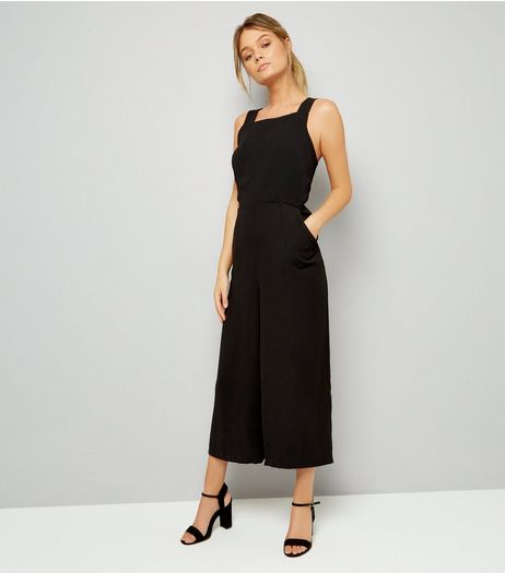 Black Wide Strap Tie Back Jumpsuit  | New Look