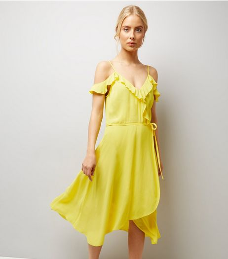 Yellow Frill Trim Wrap Front Midi Dress | New Look