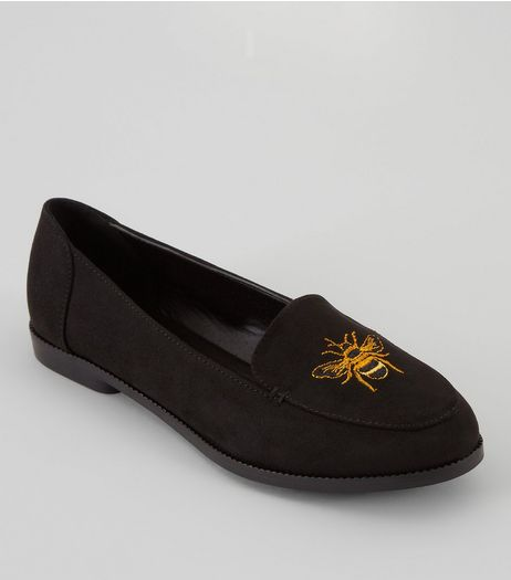 Teens Black Embroidered Bumblebee Tap Slippers | New Look