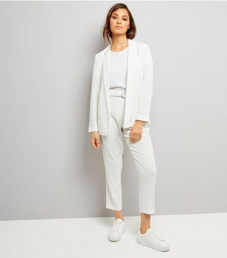 White Pinstripe Tie Waist Trousers | New Look