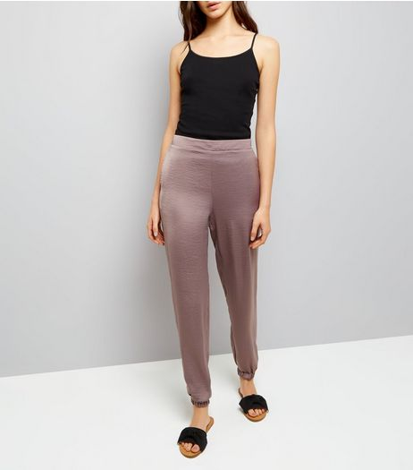 Mink Satin Joggers  | New Look