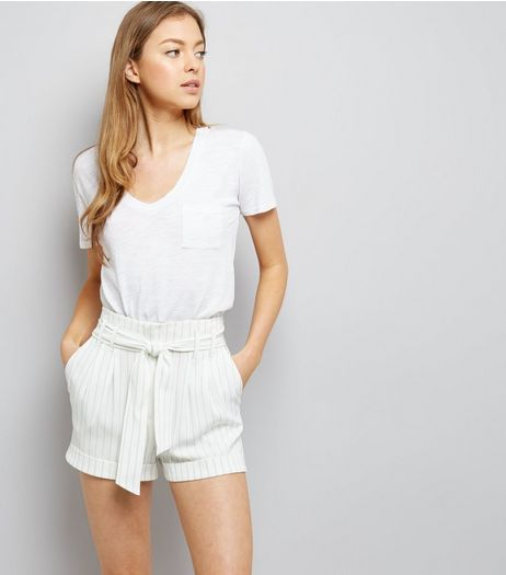 White Pinstripe Tie Waist Shorts  | New Look