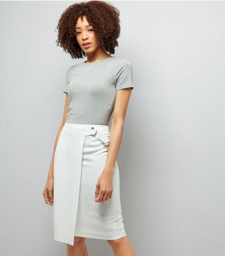 White Pinstripe Wrap Front Midi Pencil Skirt  | New Look
