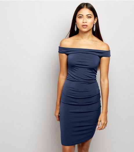 Petite Navy Bardot Ruched Bodycon Dress | New Look