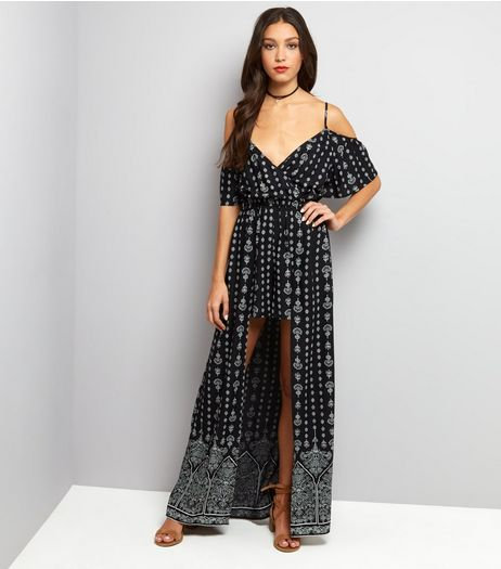 Black Cold Shoulder Dip Hem Playsuit  | New Look