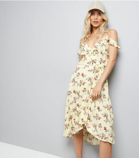 Yellow Ditsy Floral Print Wrap Front Dress | New Look