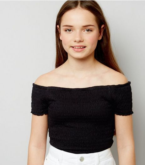 Teens Black Shirred Frill Edge Bardot Neck Top | New Look