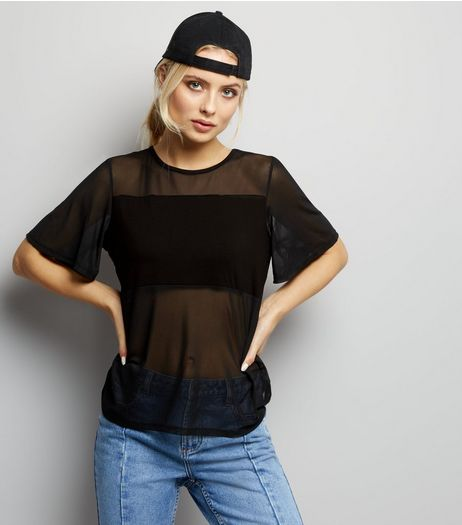 Black Mesh Panel T-Shirt | New Look