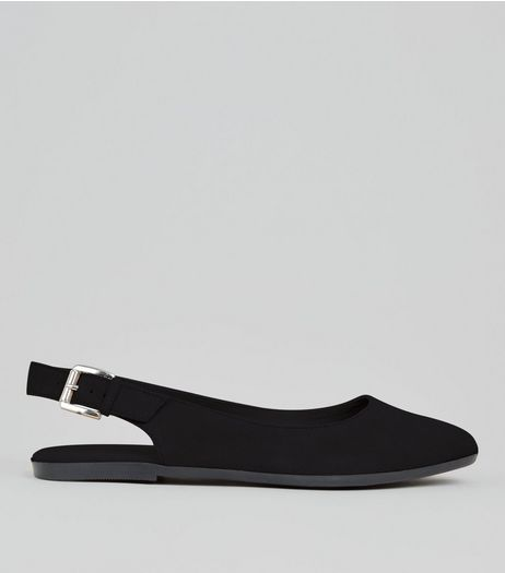 Black Suede Sling Back Pumps | New Look