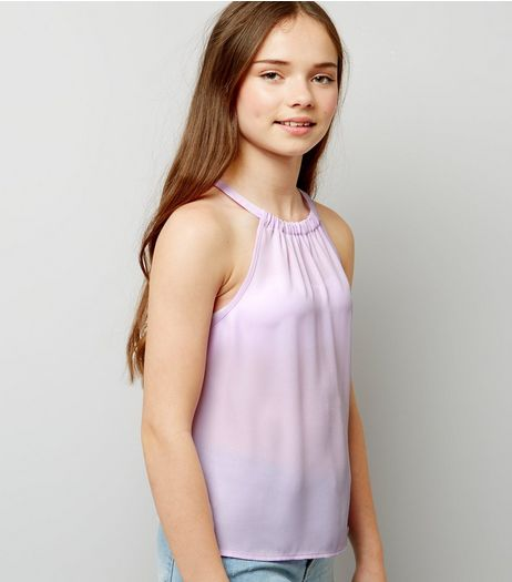 Teens Lilac Gathered Neck Cami Top | New Look