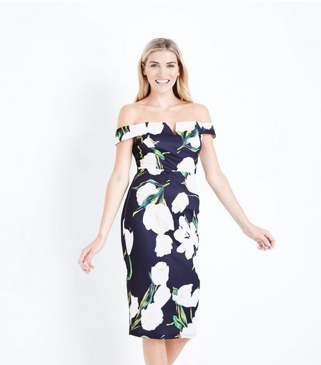 AX Paris Black Floral Print Bardot Neck Dress  | New Look