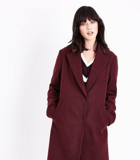 Burgundy Longline Collared Coat | New Look