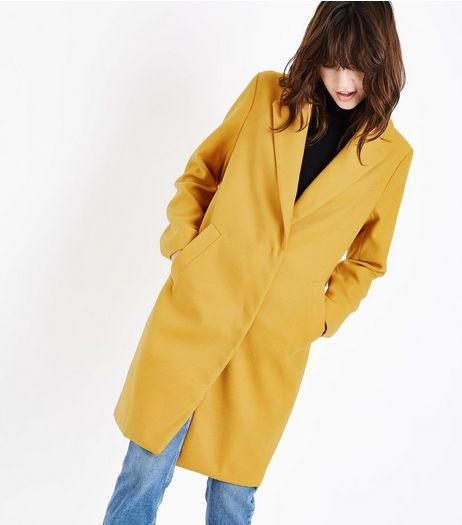Yellow Longline Collared Coat | New Look
