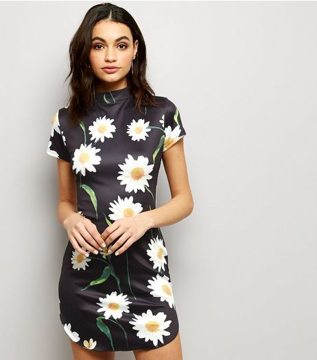 AX Paris Black Daisy Print Funnel Neck Dress | New Look