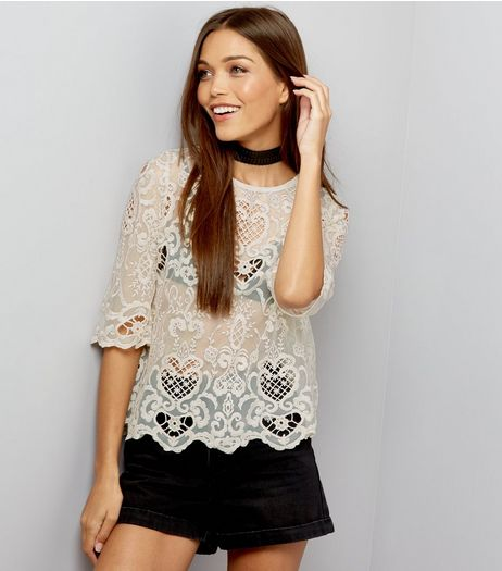 Cream Mesh Embroidered Cut Out Top  | New Look