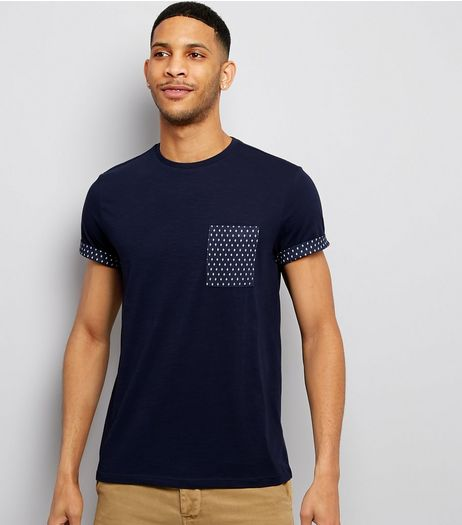 Navy Geometric Print Pocket T-Shirt | New Look