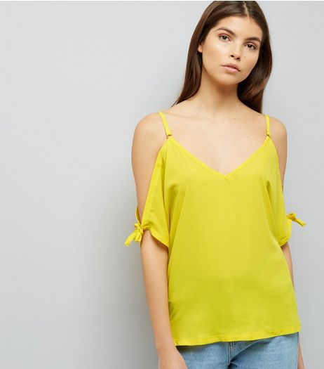 Yellow Tie Sleeve Cold Shoulder Top  | New Look