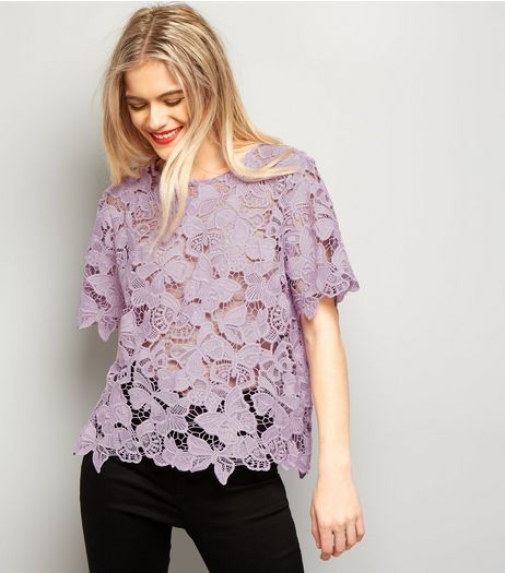 Lilac Butterfly Lace T-Shirt | New Look