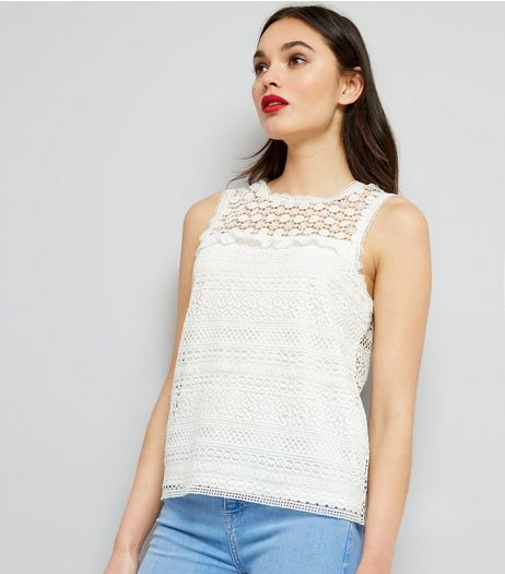 Cream Lace Frill Trim Top | New Look
