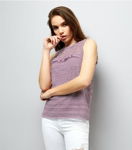 Purple Lace Frill Trim Top | New Look