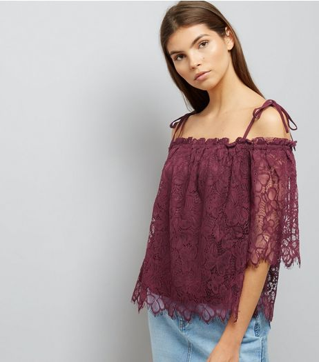 Burgundy Lace Tie Strap Bardot Neck Top | New Look