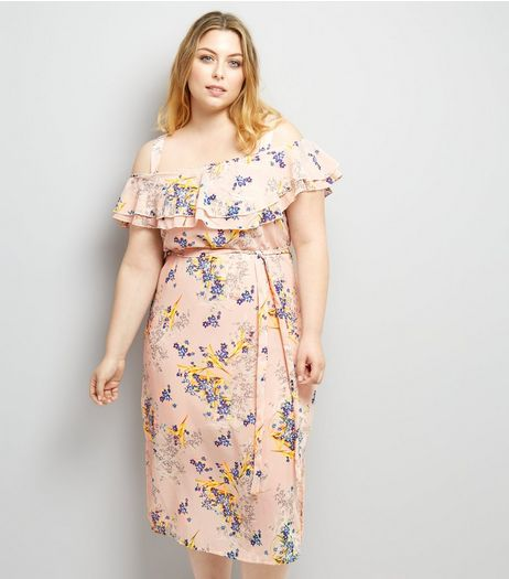 Curves Pink Floral Print Frill Trim Midi Dress | New Look