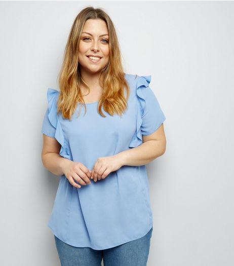 Curves Blue Frill Shoulder Top | New Look