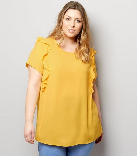 Curves Yellow Frill Shoulder Top | New Look