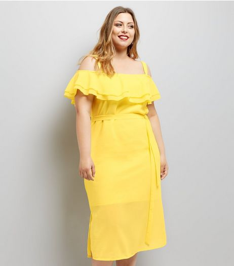 Curves Yellow Frill Trim Bardot Neck Midi Dress | New Look
