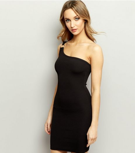 Black One Shoulder Ring Trim Bodycon Dress | New Look