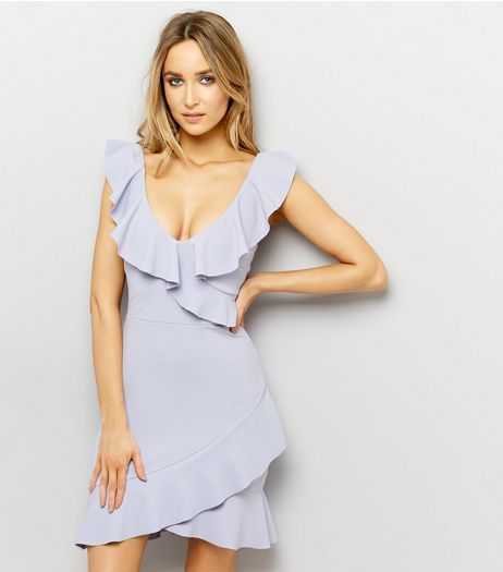 Lilac Frill Trim Sleeveless Bodycon Dress  | New Look