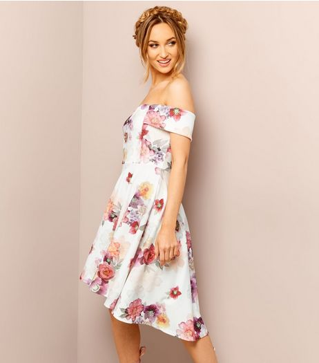 White Floral Print Bardot Neck Dress  | New Look