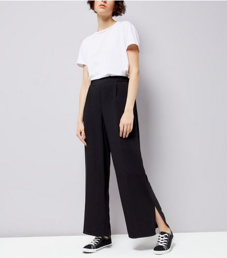 Black Split Side Wide Leg Trousers | New Look