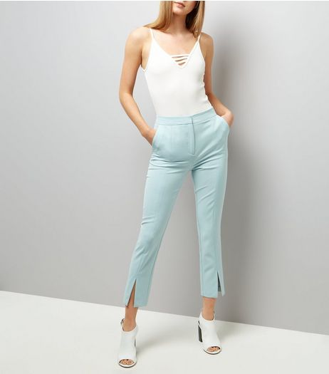 Mint Green Split Hem Trousers  | New Look