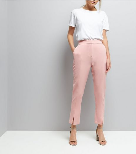 Mid Pink Split Front Trousers | New Look