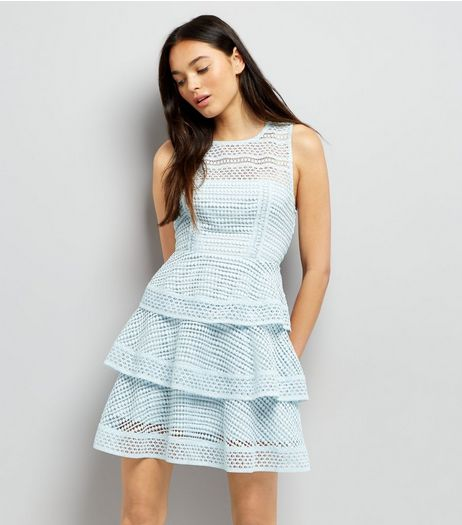 Pale Blue Premium Tiered Lace Dress | New Look