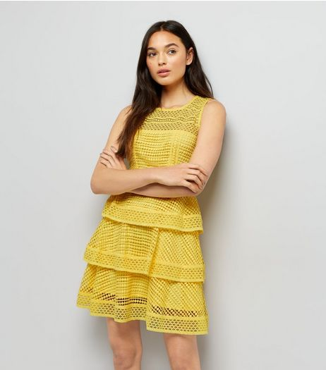 Yellow Premium Tiered Lace Dress | New Look