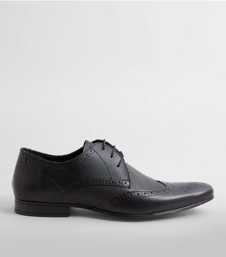 Black Leather Textured Brogues | New Look