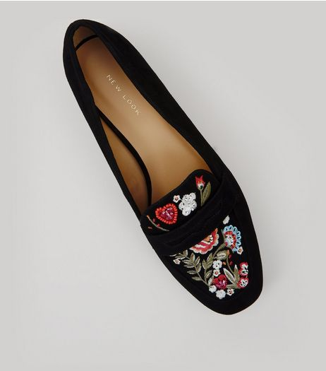 Black Suedette Floral Embroidered Loafers | New Look