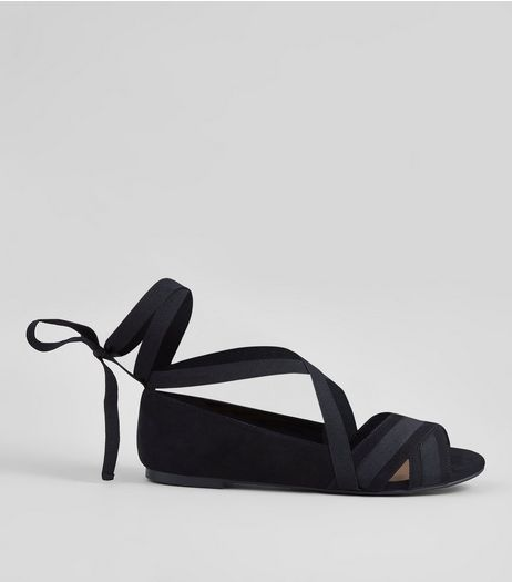 Black Cross Strap Ankle Tie Peep Toe Pumps | New Look